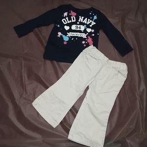 💝Old Navy girls 12m blue top w tan pants, 2 pc